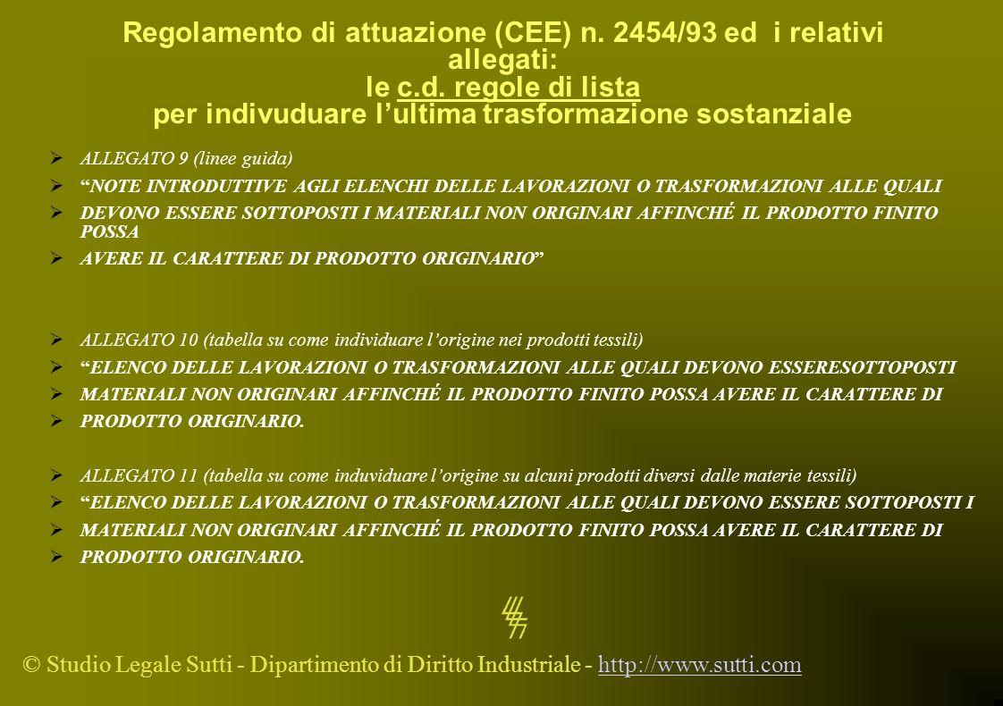 © Studio Legale Sutti - Dipartimento di Diritto Industriale - http://www.sutti.comhttp://www.sutti.com Regolamento di attuazione (CEE) n. 2454/93 ed i