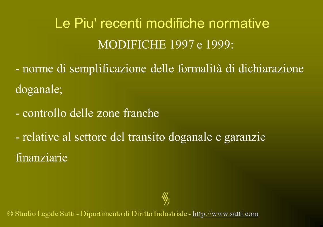 © Studio Legale Sutti - Dipartimento di Diritto Industriale - http://www.sutti.comhttp://www.sutti.com Le Piu' recenti modifiche normative MODIFICHE 1