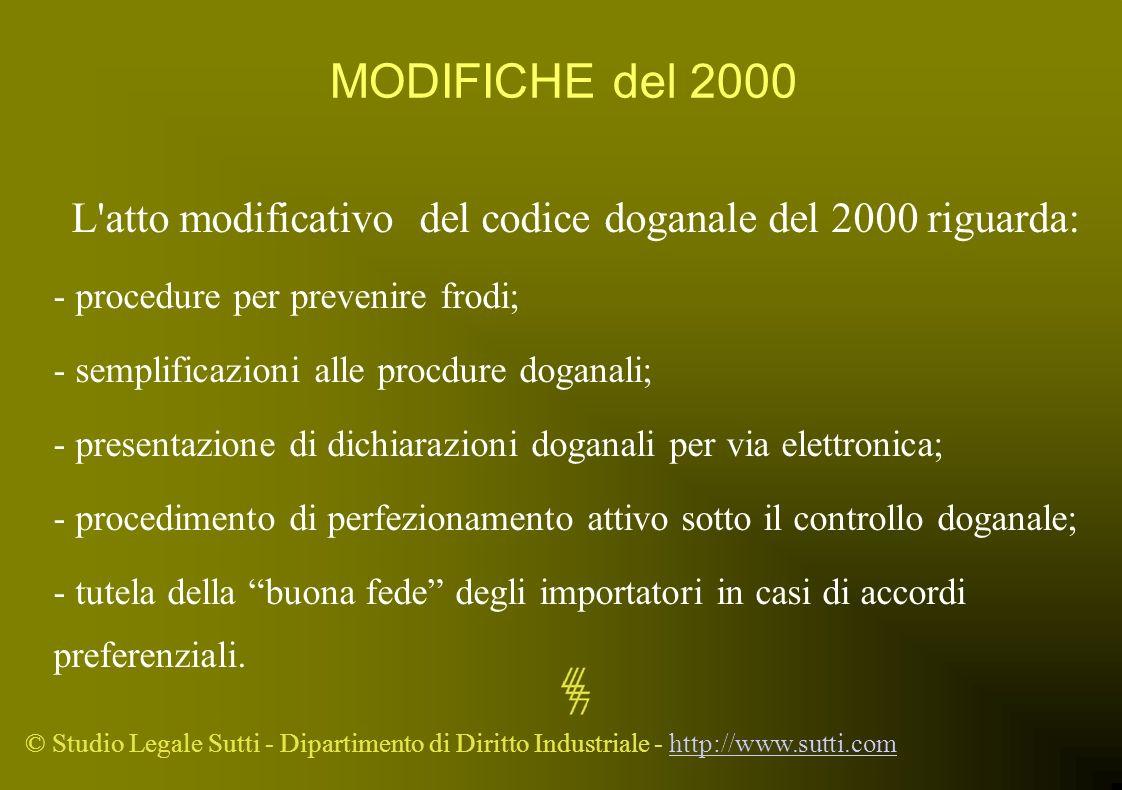 © Studio Legale Sutti - Dipartimento di Diritto Industriale - http://www.sutti.comhttp://www.sutti.com MODIFICHE del 2000 L'atto modificativo del codi