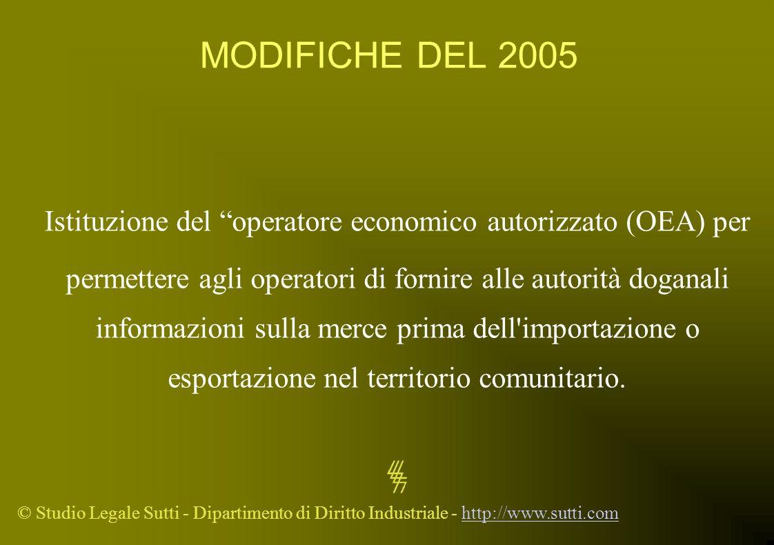 © Studio Legale Sutti - Dipartimento di Diritto Industriale - http://www.sutti.comhttp://www.sutti.com MODIFICHE DEL 2005 Istituzione del operatore ec