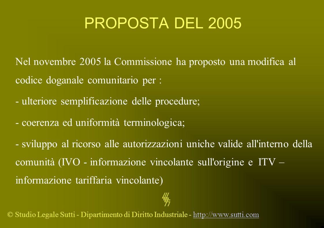 © Studio Legale Sutti - Dipartimento di Diritto Industriale - http://www.sutti.comhttp://www.sutti.com PROPOSTA DEL 2005 Nel novembre 2005 la Commissi