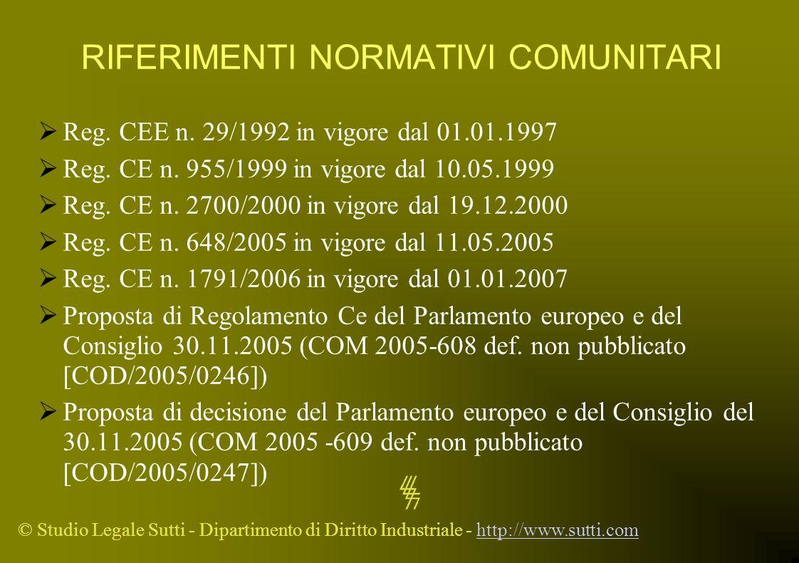 © Studio Legale Sutti - Dipartimento di Diritto Industriale - http://www.sutti.comhttp://www.sutti.com RIFERIMENTI NORMATIVI COMUNITARI Reg. CEE n. 29