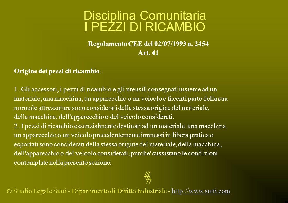© Studio Legale Sutti - Dipartimento di Diritto Industriale - http://www.sutti.comhttp://www.sutti.com Disciplina Comunitaria I PEZZI DI RICAMBIO Rego