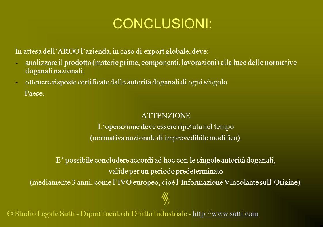 © Studio Legale Sutti - Dipartimento di Diritto Industriale - http://www.sutti.comhttp://www.sutti.com CONCLUSIONI: In attesa dellAROO lazienda, in ca