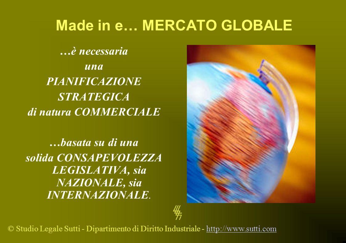 © Studio Legale Sutti - Dipartimento di Diritto Industriale - http://www.sutti.comhttp://www.sutti.com Made in e… MERCATO GLOBALE …è necessaria una PI