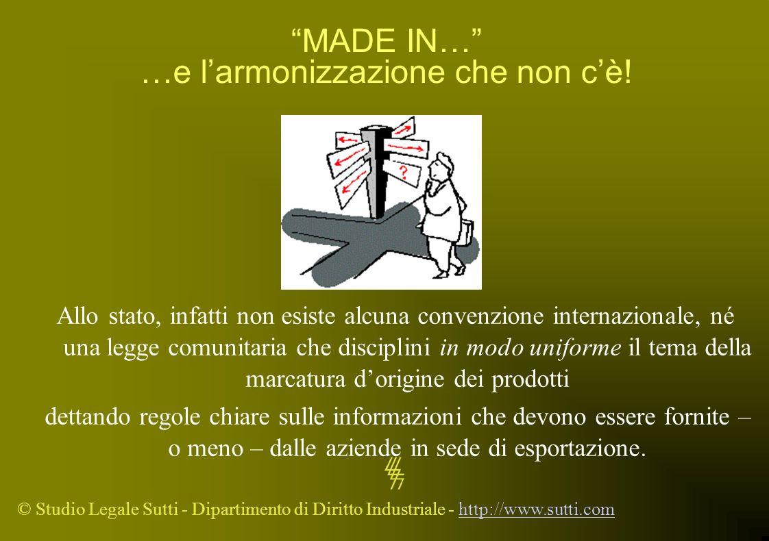 © Studio Legale Sutti - Dipartimento di Diritto Industriale - http://www.sutti.comhttp://www.sutti.com MADE IN… …e larmonizzazione che non cè! Allo st