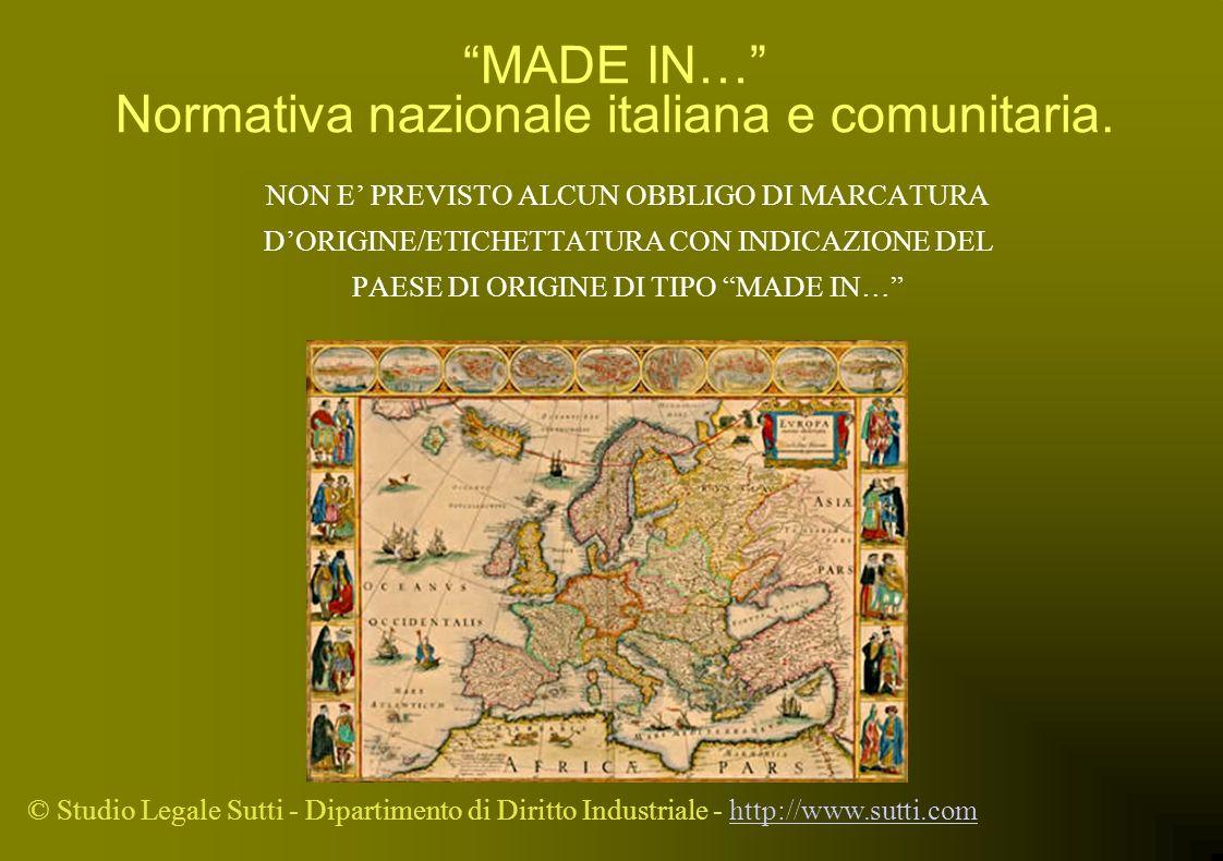 © Studio Legale Sutti - Dipartimento di Diritto Industriale - http://www.sutti.comhttp://www.sutti.com MADE IN… Normativa nazionale italiana e comunit