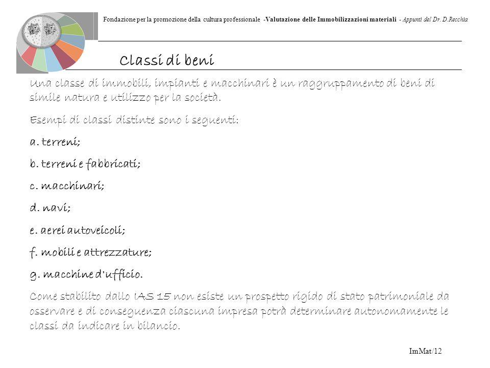 Fondazione per la promozione della cultura professionale -Valutazione delle Immobilizzazioni materiali - Appunti del Dr. D.Recchia ImMat/12 Una classe