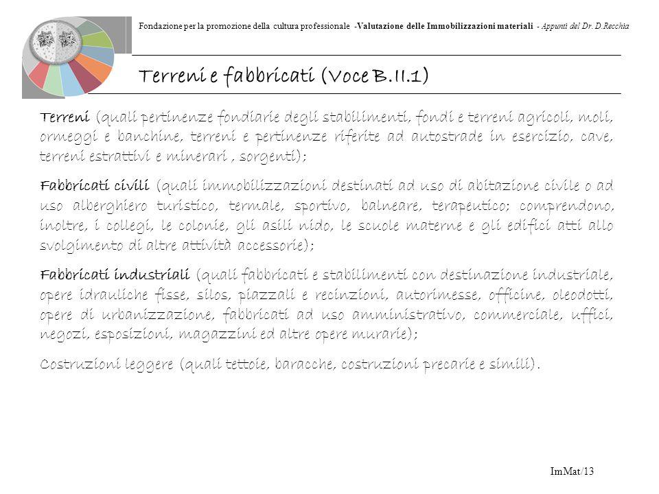 Fondazione per la promozione della cultura professionale -Valutazione delle Immobilizzazioni materiali - Appunti del Dr. D.Recchia ImMat/13 Terreni (q