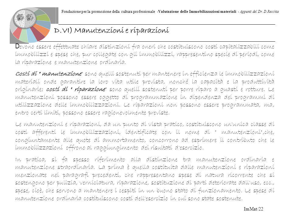 Fondazione per la promozione della cultura professionale -Valutazione delle Immobilizzazioni materiali - Appunti del Dr. D.Recchia ImMat/22 D evono es