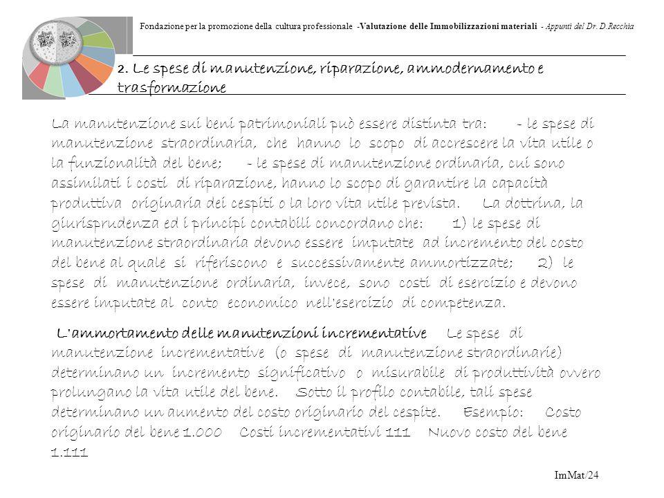 Fondazione per la promozione della cultura professionale -Valutazione delle Immobilizzazioni materiali - Appunti del Dr. D.Recchia ImMat/24 La manuten