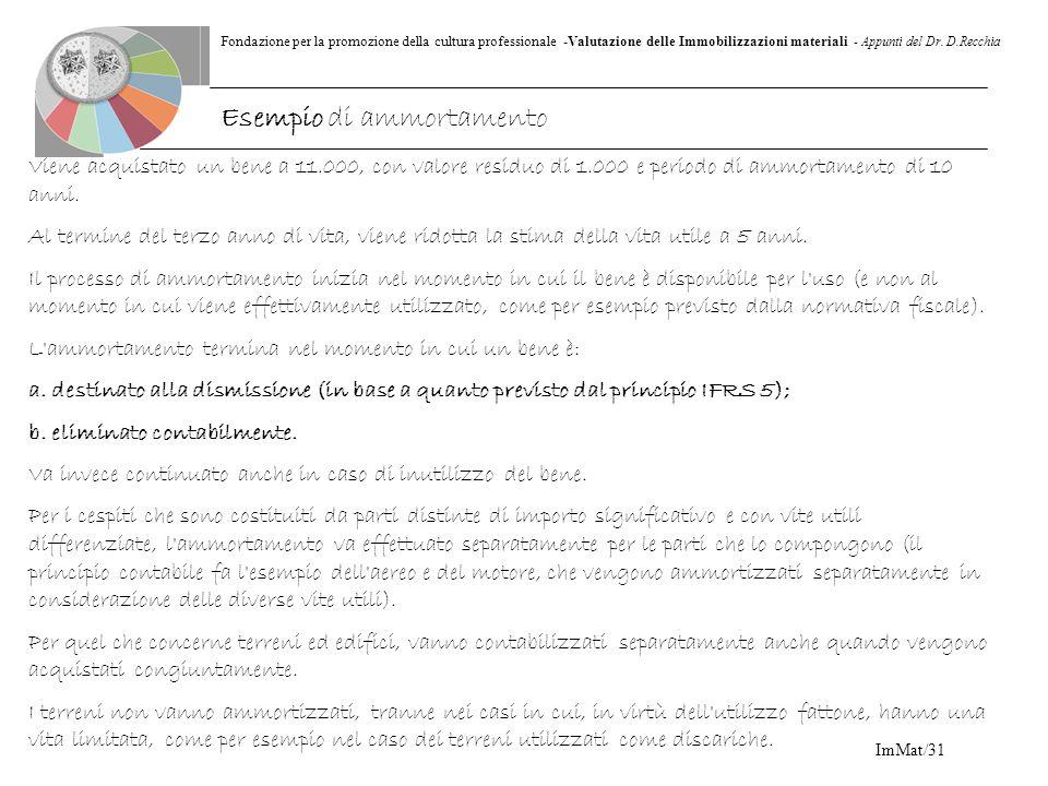 Fondazione per la promozione della cultura professionale -Valutazione delle Immobilizzazioni materiali - Appunti del Dr. D.Recchia ImMat/31 Viene acqu
