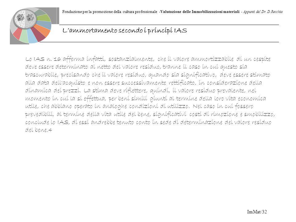 Fondazione per la promozione della cultura professionale -Valutazione delle Immobilizzazioni materiali - Appunti del Dr. D.Recchia ImMat/32 Lo IAS n.