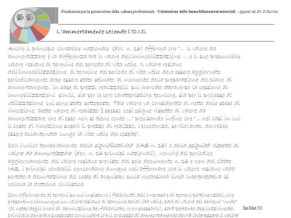 Fondazione per la promozione della cultura professionale -Valutazione delle Immobilizzazioni materiali - Appunti del Dr. D.Recchia ImMat/33 Anche il p