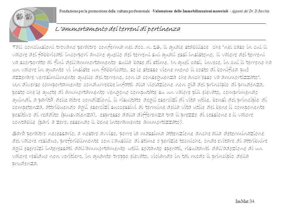 Fondazione per la promozione della cultura professionale -Valutazione delle Immobilizzazioni materiali - Appunti del Dr. D.Recchia ImMat/34 Tali concl