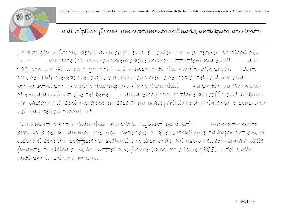 Fondazione per la promozione della cultura professionale -Valutazione delle Immobilizzazioni materiali - Appunti del Dr. D.Recchia ImMat/37 La discipl