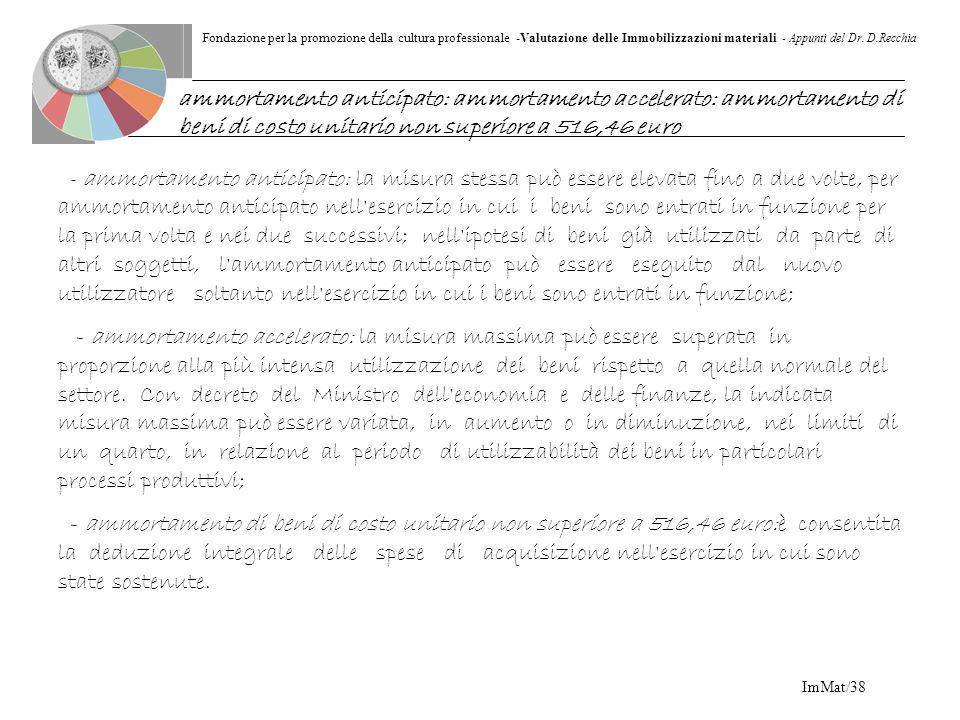 Fondazione per la promozione della cultura professionale -Valutazione delle Immobilizzazioni materiali - Appunti del Dr. D.Recchia ImMat/38 - ammortam