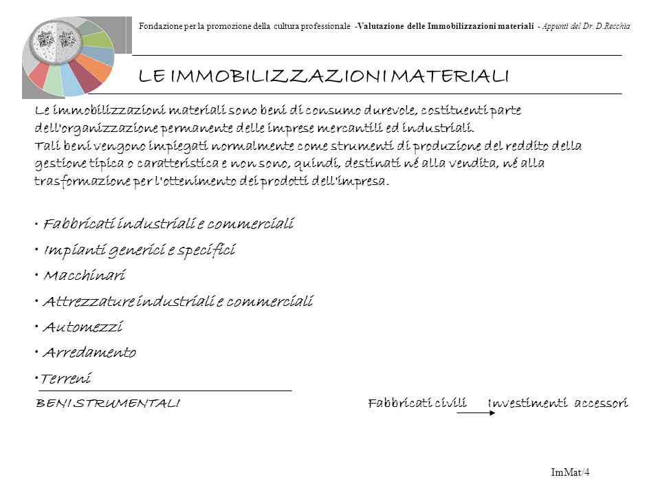 Fondazione per la promozione della cultura professionale -Valutazione delle Immobilizzazioni materiali - Appunti del Dr. D.Recchia ImMat/4 Le immobili