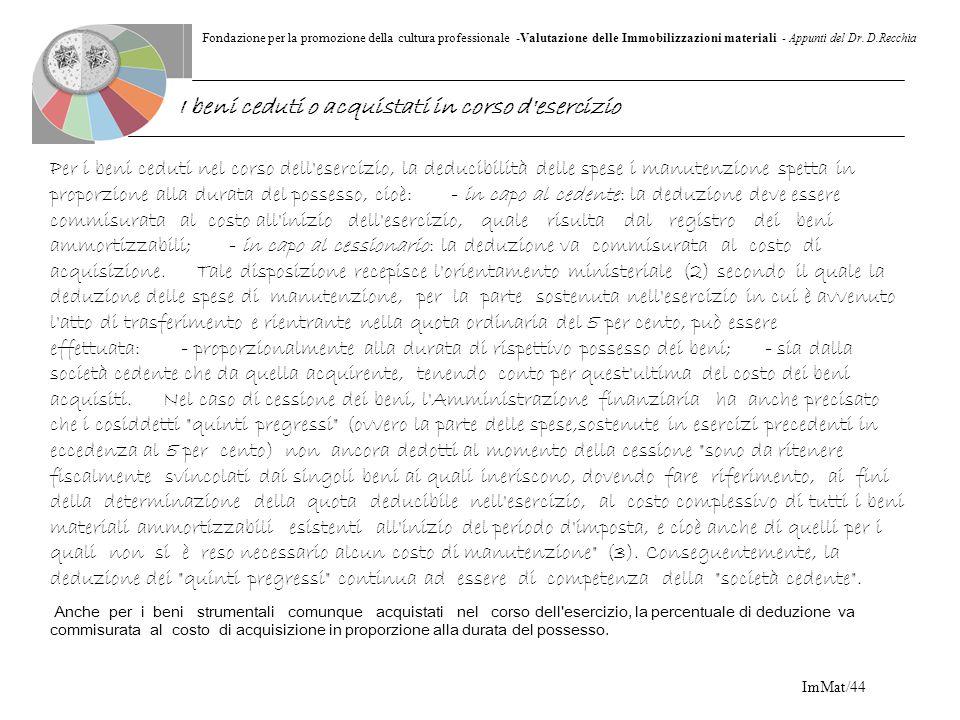 Fondazione per la promozione della cultura professionale -Valutazione delle Immobilizzazioni materiali - Appunti del Dr. D.Recchia ImMat/44 Per i beni