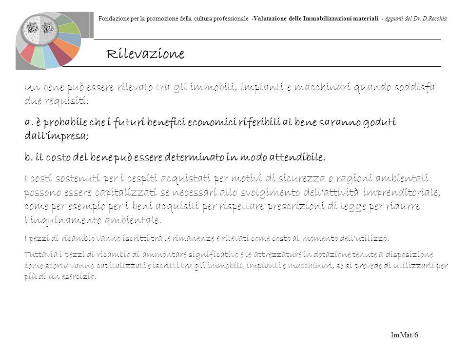 Fondazione per la promozione della cultura professionale -Valutazione delle Immobilizzazioni materiali - Appunti del Dr. D.Recchia ImMat/6 Un bene può