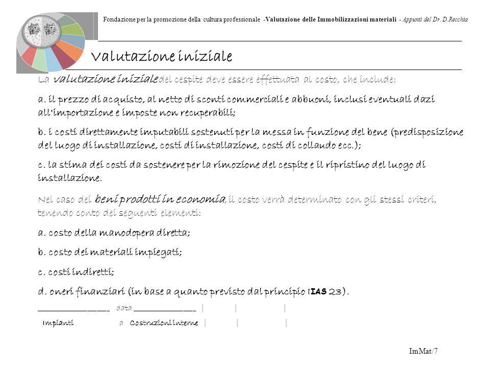 Fondazione per la promozione della cultura professionale -Valutazione delle Immobilizzazioni materiali - Appunti del Dr. D.Recchia ImMat/7 La valutazi