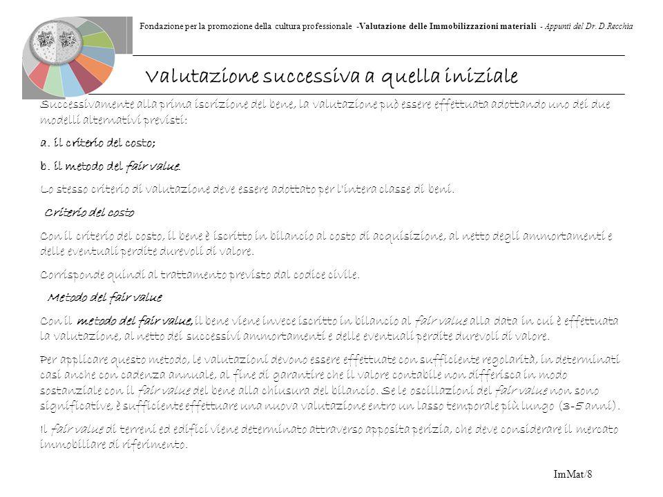 Fondazione per la promozione della cultura professionale -Valutazione delle Immobilizzazioni materiali - Appunti del Dr. D.Recchia ImMat/8 Successivam