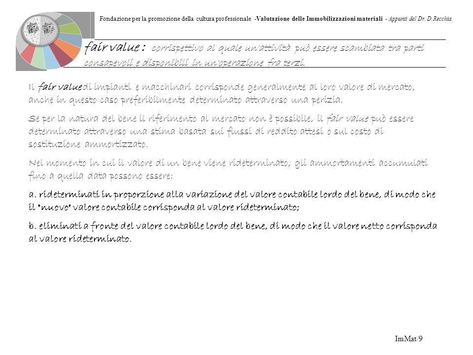Fondazione per la promozione della cultura professionale -Valutazione delle Immobilizzazioni materiali - Appunti del Dr. D.Recchia ImMat/9 Il fair val