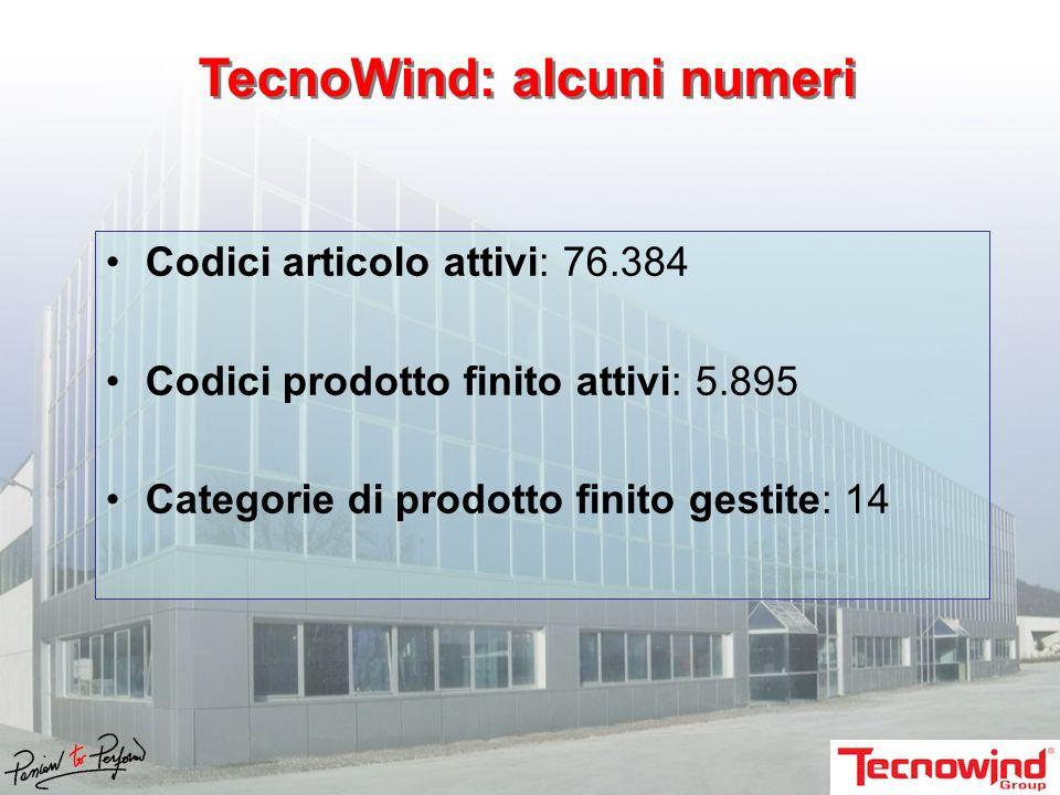 Codici articolo attivi: 76.384 Codici prodotto finito attivi: 5.895 Categorie di prodotto finito gestite: 14 TecnoWind: alcuni numeri