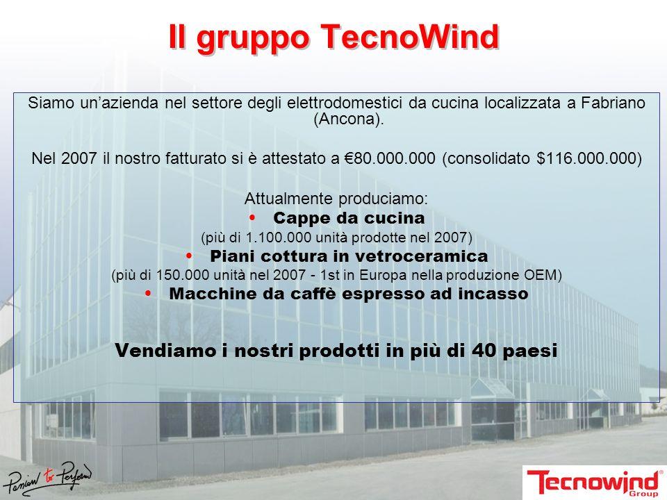 Il gruppo TecnoWind Siamo unazienda nel settore degli elettrodomestici da cucina localizzata a Fabriano (Ancona). Nel 2007 il nostro fatturato si è at