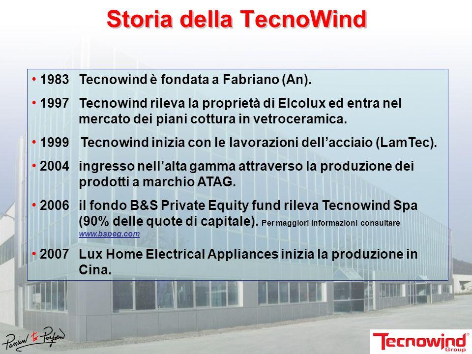 Storia della TecnoWind 1983Tecnowind è fondata a Fabriano (An). 1997Tecnowind rileva la proprietà di Elcolux ed entra nel mercato dei piani cottura in