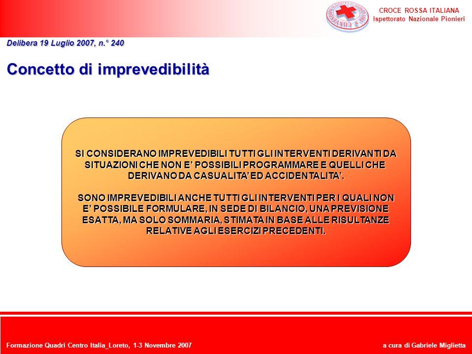 CROCE ROSSA ITALIANA Ispettorato Nazionale Pionieri a cura di Gabriele Miglietta Concetto di imprevedibilità Delibera 19 Luglio 2007, n.° 240 SI CONSI