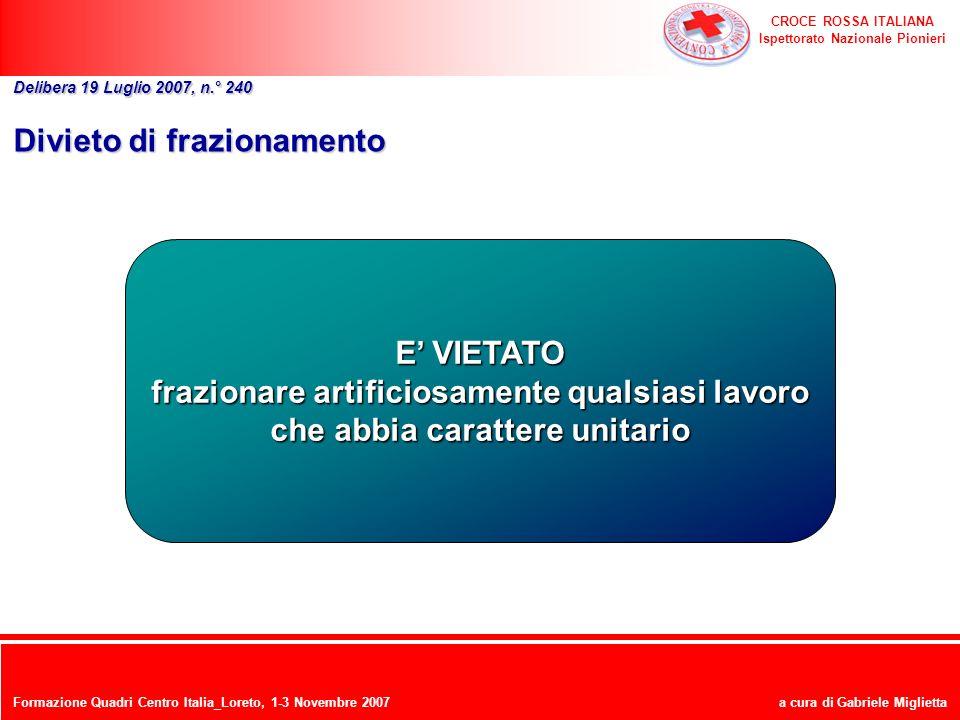 CROCE ROSSA ITALIANA Ispettorato Nazionale Pionieri a cura di Gabriele Miglietta Divieto di frazionamento Delibera 19 Luglio 2007, n.° 240 E VIETATO f