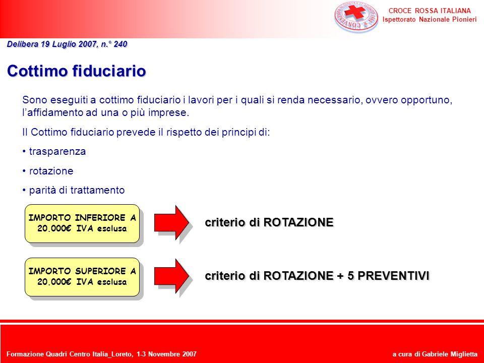 CROCE ROSSA ITALIANA Ispettorato Nazionale Pionieri a cura di Gabriele Miglietta Cottimo fiduciario Sono eseguiti a cottimo fiduciario i lavori per i