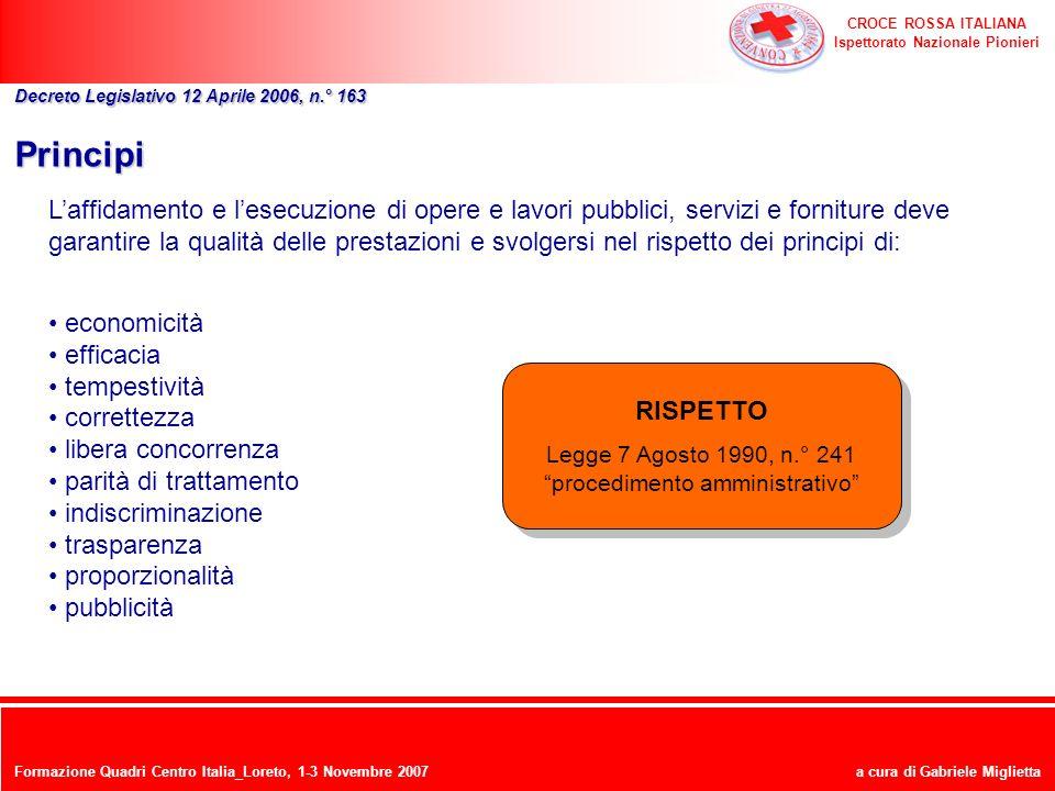 CROCE ROSSA ITALIANA Ispettorato Nazionale Pionieri a cura di Gabriele Miglietta Principi Laffidamento e lesecuzione di opere e lavori pubblici, servi