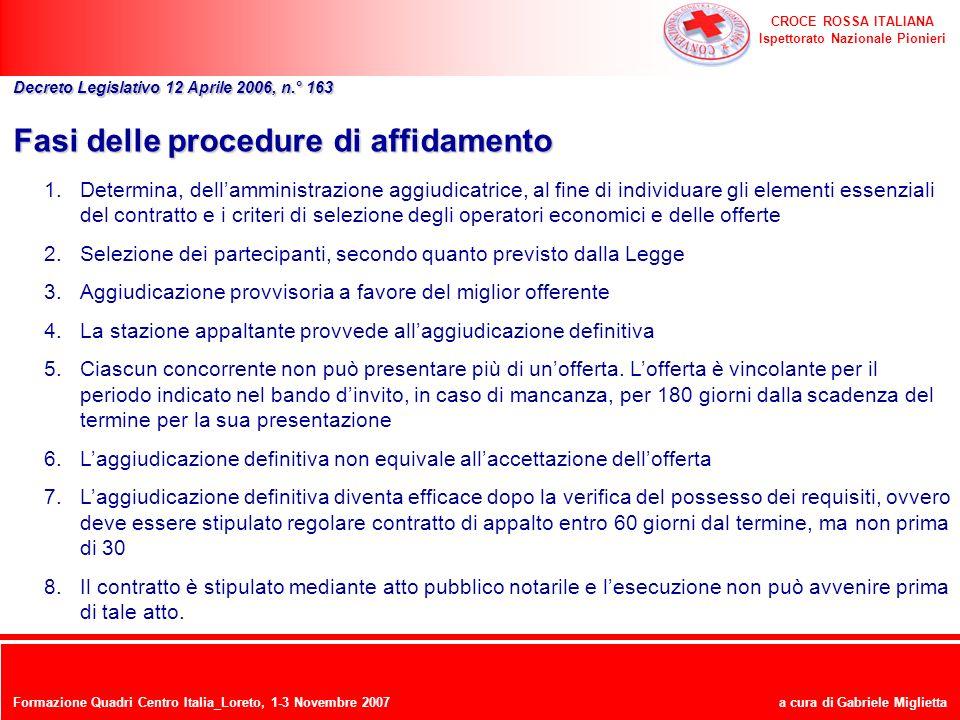 CROCE ROSSA ITALIANA Ispettorato Nazionale Pionieri a cura di Gabriele Miglietta Fasi delle procedure di affidamento 1.Determina, dellamministrazione