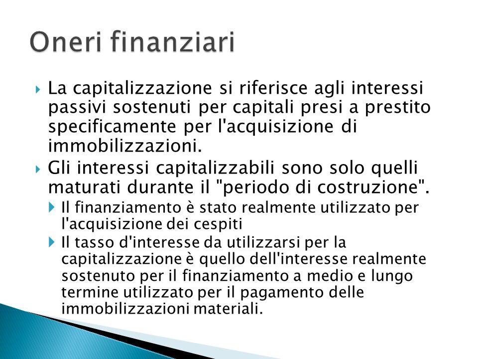La capitalizzazione si riferisce agli interessi passivi sostenuti per capitali presi a prestito specificamente per l acquisizione di immobilizzazioni.
