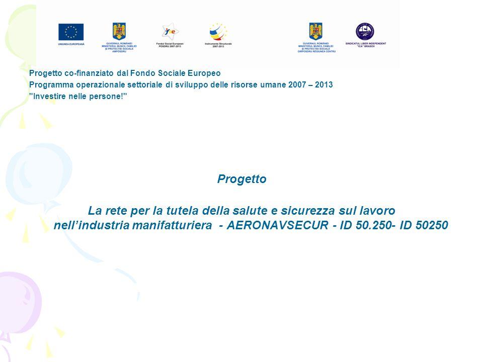 Progetto co-finanziato dal Fondo Sociale Europeo Programma operazionale settoriale di sviluppo delle risorse umane 2007 – 2013 Investire nelle persone! Progetto La rete per la tutela della salute e sicurezza sul lavoro nellindustria manifatturiera - AERONAVSECUR - ID 50.250- ID 50250