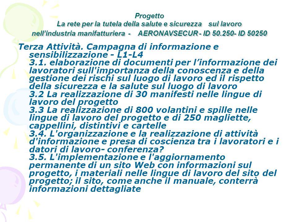 Terza Attività. Campagna di informazione e sensibilizzazione - L1-L4 3.1.