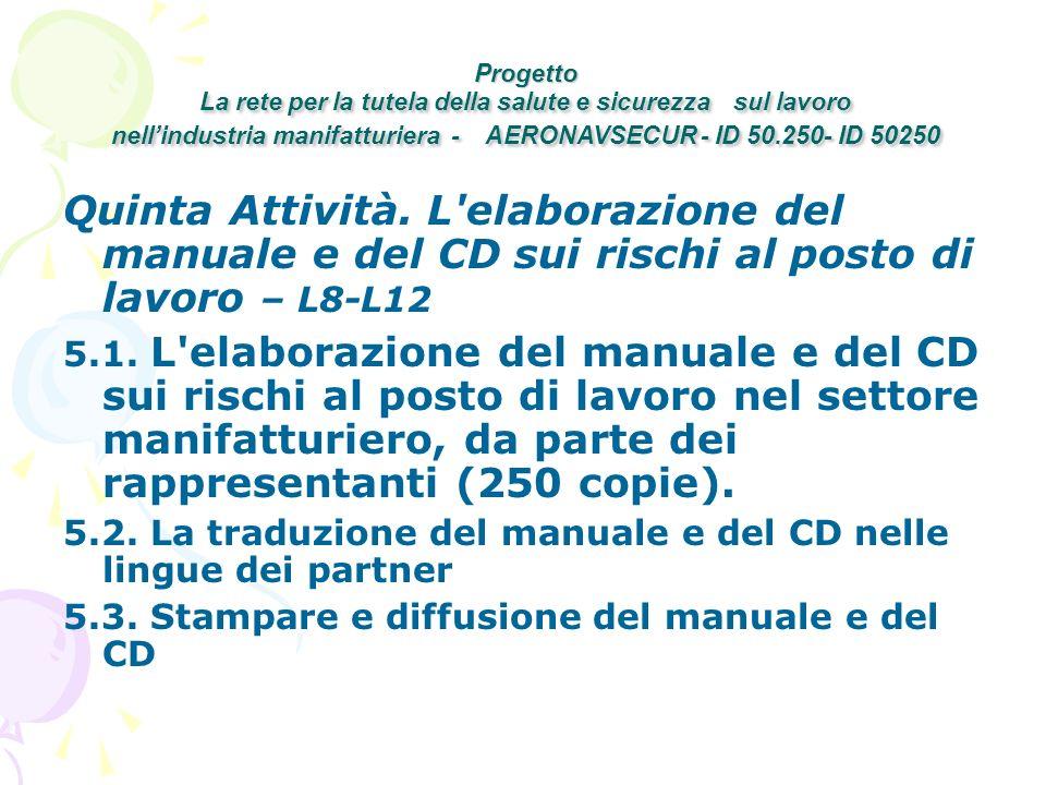 Quinta Attività. L elaborazione del manuale e del CD sui rischi al posto di lavoro – L8-L12 5.1.