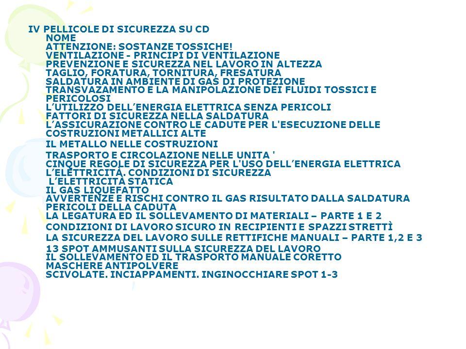 IV PELLICOLE DI SICUREZZA SU CD NOME ATTENZIONE: SOSTANZE TOSSICHE.