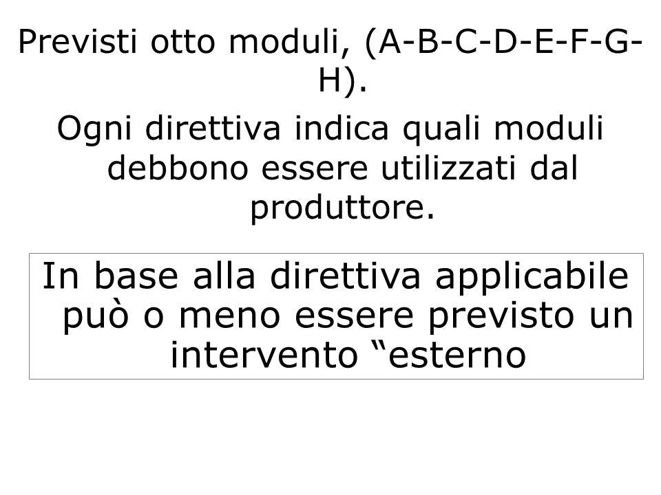 Previsti otto moduli, (A-B-C-D-E-F-G- H). Ogni direttiva indica quali moduli debbono essere utilizzati dal produttore. In base alla direttiva applicab
