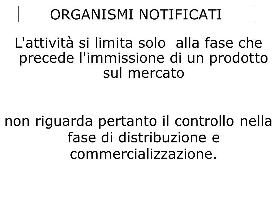 ORGANISMI NOTIFICATI non riguarda pertanto il controllo nella fase di distribuzione e commercializzazione. L'attività si limita solo alla fase che pre