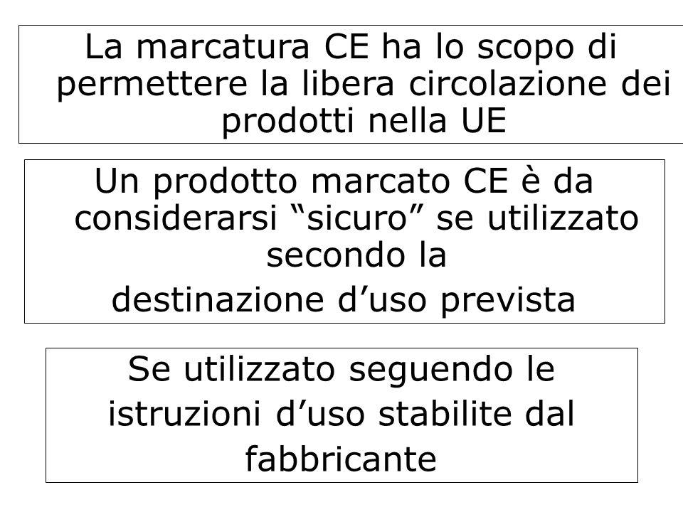 La marcatura CE ha lo scopo di permettere la libera circolazione dei prodotti nella UE Un prodotto marcato CE è da considerarsi sicuro se utilizzato s