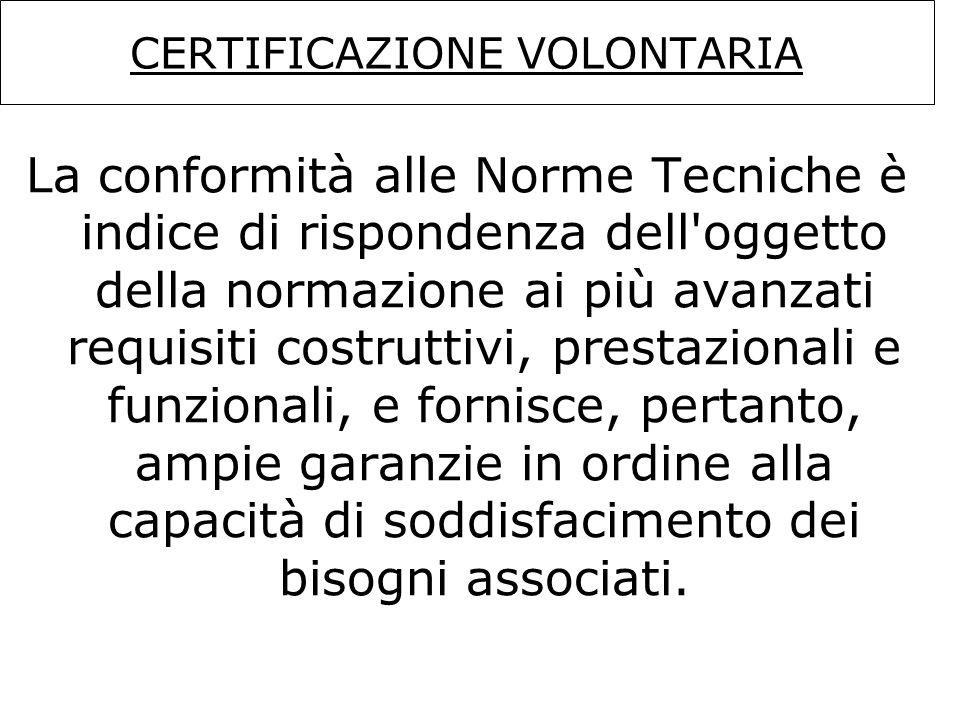 CERTIFICAZIONE VOLONTARIA La conformità alle Norme Tecniche è indice di rispondenza dell'oggetto della normazione ai più avanzati requisiti costruttiv