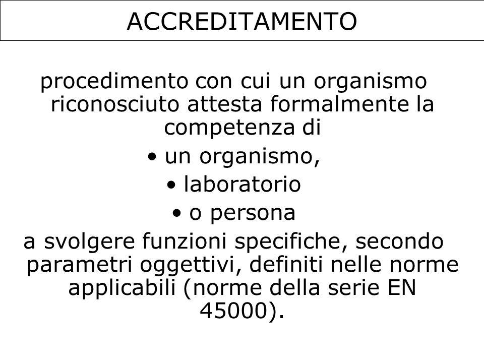 ACCREDITAMENTO procedimento con cui un organismo riconosciuto attesta formalmente la competenza di un organismo, laboratorio o persona a svolgere funz
