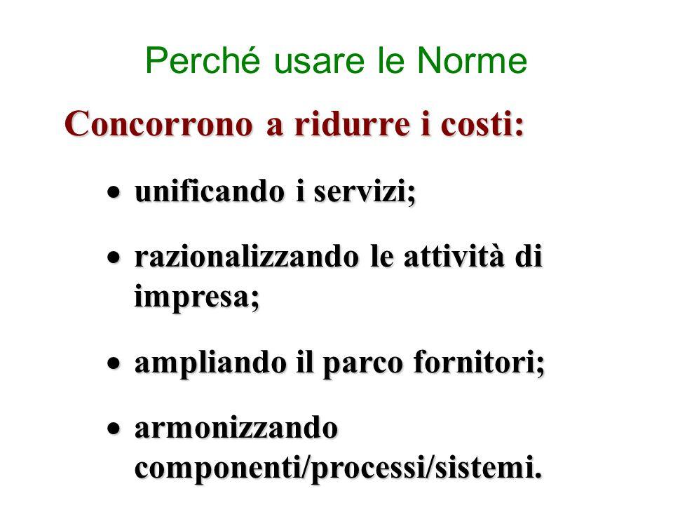 Perché usare le Norme Concorrono a ridurre i costi: unificando i servizi; unificando i servizi; razionalizzando le attività di impresa; razionalizzand
