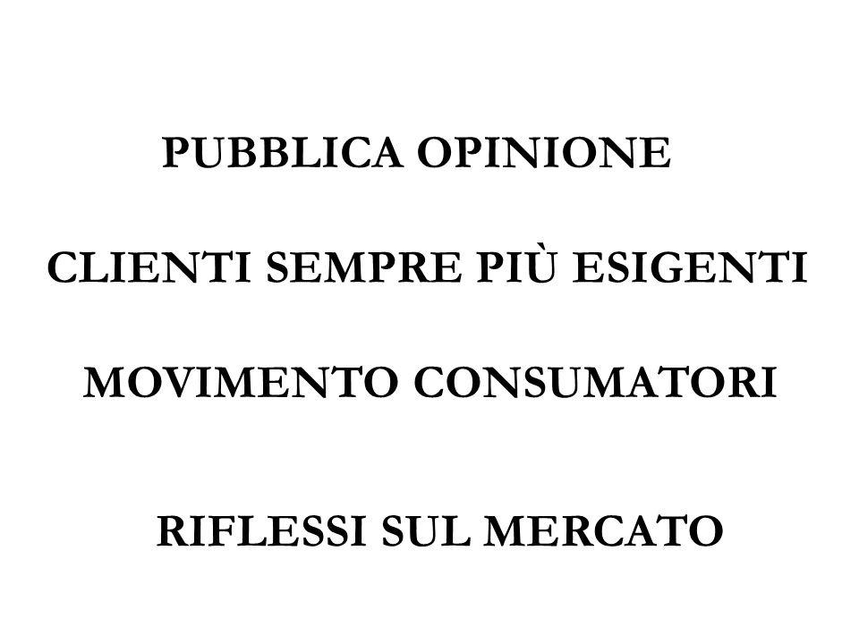 PUBBLICA OPINIONE MOVIMENTO CONSUMATORI RIFLESSI SUL MERCATO CLIENTI SEMPRE PIÙ ESIGENTI