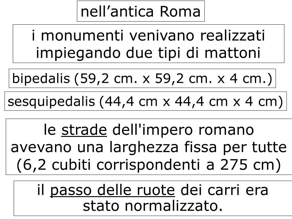 nellantica Roma i monumenti venivano realizzati impiegando due tipi di mattoni bipedalis (59,2 cm. x 59,2 cm. x 4 cm.) sesquipedalis (44,4 cm x 44,4 c