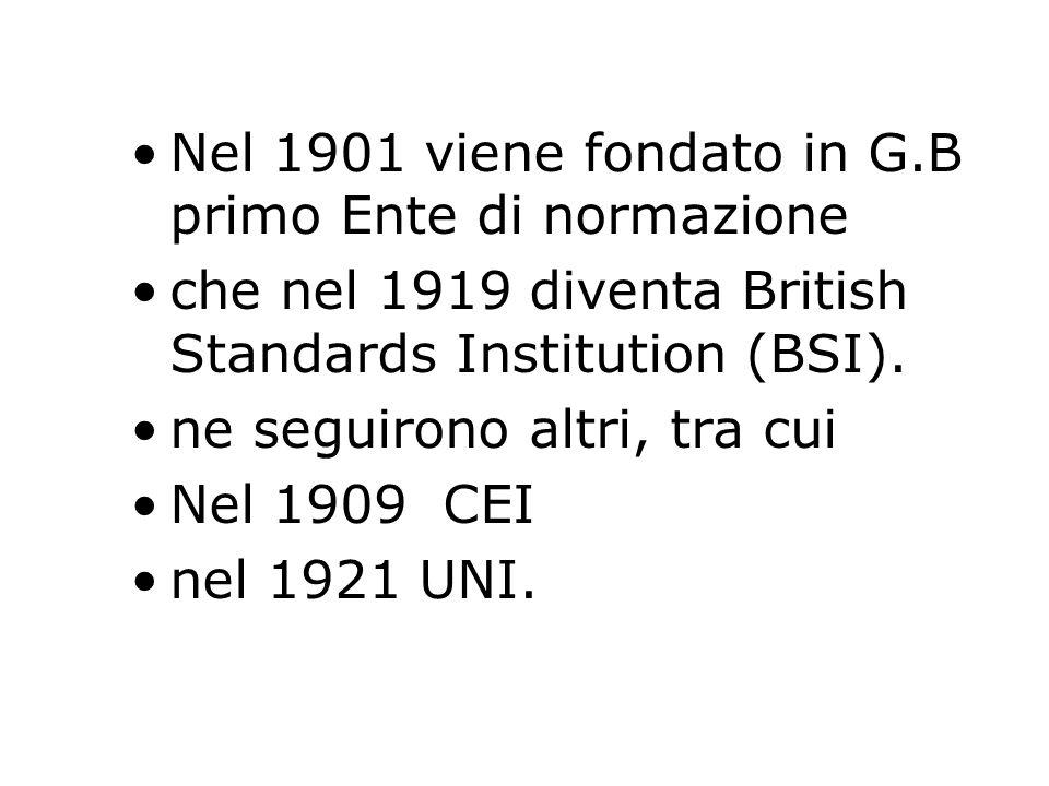 Nel 1901 viene fondato in G.B primo Ente di normazione che nel 1919 diventa British Standards Institution (BSI). ne seguirono altri, tra cui Nel 1909