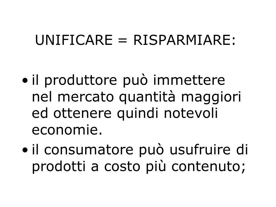 UNIFICARE = RISPARMIARE: il produttore può immettere nel mercato quantità maggiori ed ottenere quindi notevoli economie. il consumatore può usufruire